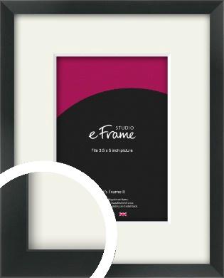 Modern Streamlined Black Picture Frame & Mount, 3.5x5