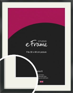 Modern Streamlined Black Picture Frame & Mount, 30x40cm (VRMP-A099-M-30x40cm)