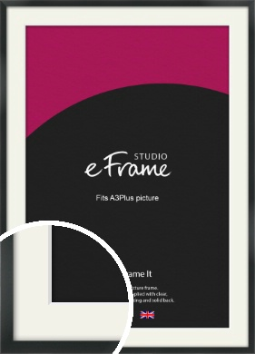 Modern Streamlined Black Picture Frame & Mount, A3Plus (VRMP-A099-M-329x483mm)
