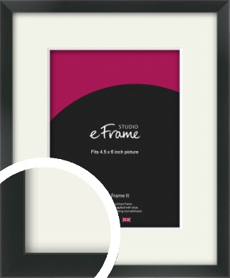 Modern Streamlined Black Picture Frame & Mount, 4.5x6