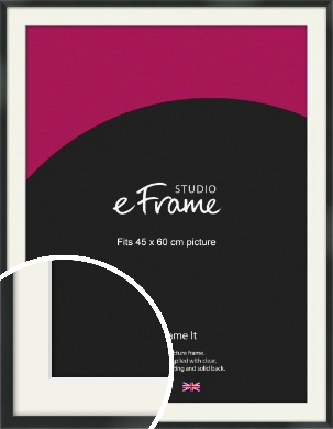 Modern Streamlined Black Picture Frame & Mount, 45x60cm (VRMP-A099-M-45x60cm)