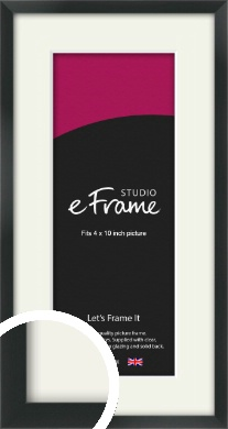 Modern Streamlined Black Picture Frame & Mount, 4x10