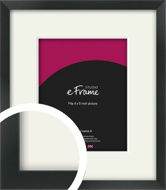 Modern Streamlined Black Picture Frame & Mount, 4x5