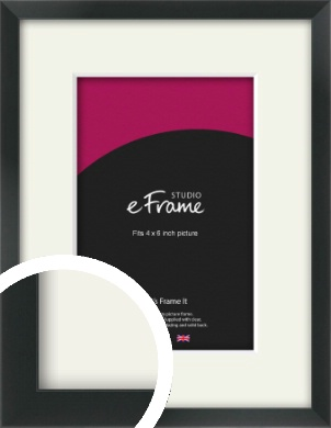Modern Streamlined Black Picture Frame & Mount, 4x6