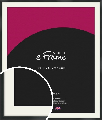 Modern Streamlined Black Picture Frame & Mount, 50x60cm (VRMP-A099-M-50x60cm)