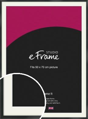 Modern Streamlined Black Picture Frame & Mount, 50x70cm (VRMP-A099-M-50x70cm)