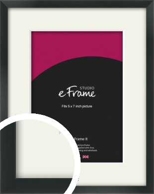 Modern Streamlined Black Picture Frame & Mount, 5x7