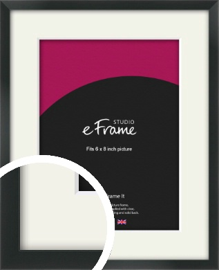 Modern Streamlined Black Picture Frame & Mount, 6x8