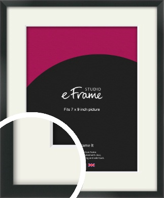 Modern Streamlined Black Picture Frame & Mount, 7x9