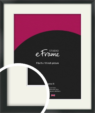 Modern Streamlined Black Picture Frame & Mount, 8x10