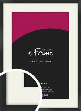 Modern Streamlined Black Picture Frame & Mount, 8x12