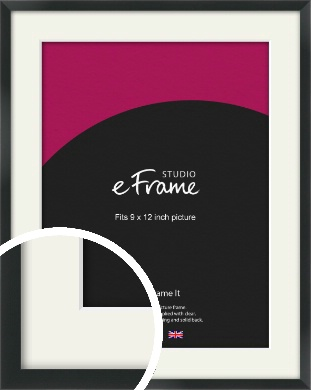 Modern Streamlined Black Picture Frame & Mount, 9x12