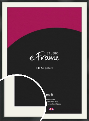 Modern Streamlined Black Picture Frame & Mount, A2 (420x594mm) (VRMP-A099-M-A2)