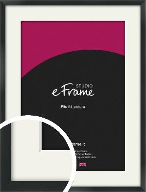 Modern Streamlined Black Picture Frame & Mount, A4 (210x297mm) (VRMP-A099-M-A4)
