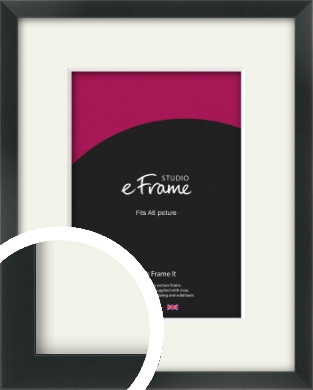 Modern Streamlined Black Picture Frame & Mount, A6 (105x148mm) (VRMP-A099-M-A6)
