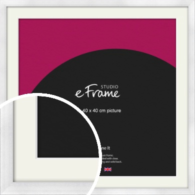 Frosted Aluminium Silver Picture Frame & Mount, 40x40cm (VRMP-A101-M-40x40cm)