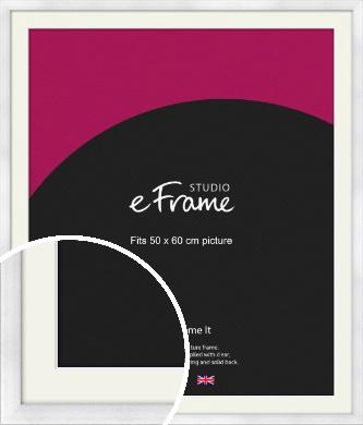 Frosted Aluminium Silver Picture Frame & Mount, 50x60cm (VRMP-A101-M-50x60cm)
