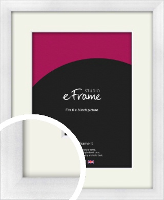 Frosted Aluminium Silver Picture Frame & Mount, 6x8