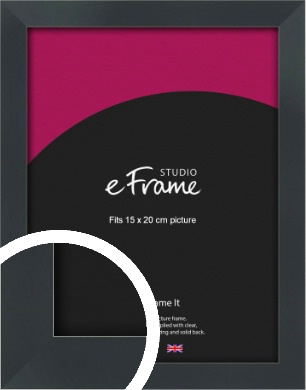 Rectangular Jet Black Picture Frame, 15x20cm (6x8
