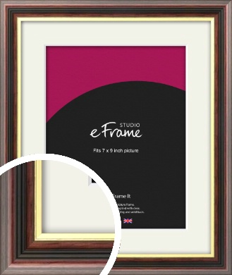 Award Style Brown Picture Frame & Mount, 7x9