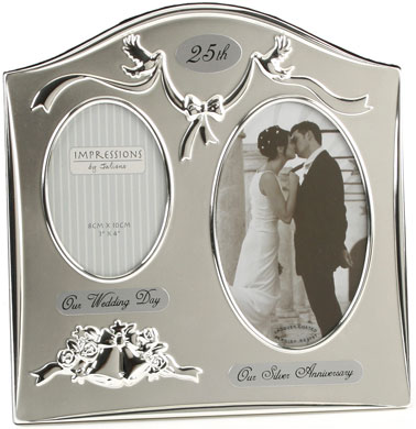 Impressions 25th Anniversary Then And Now Silver Photo Frame 2
