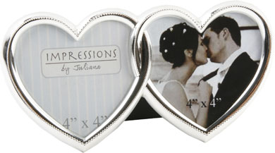 Impressions Interlocking Heart Shape Silver Photo Frame, 2 Photos (FS991)