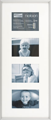60x25cm Nielsen Gallery Junior Silver Picture Frame & Mount, 4 Photos (R560604)