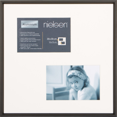 30x30cm Nielsen Gallery Junior Black Picture Frame & Mount, 2 Photos (R561221)