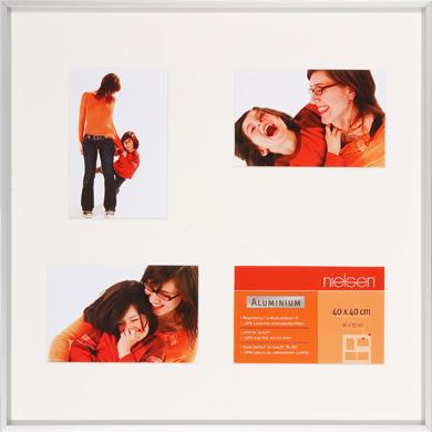 40x40cm Nielsen Gallery Junior Silver Picture Frame & Mount, 4 Photos (R561304)