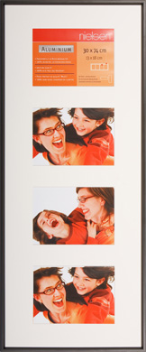 74x30cm Nielsen Gallery Junior Black Picture Frame & Mount, 4 Photos (R562021)