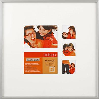 40x40cm Nielsen Gallery Junior Silver Picture Frame & Mount, 5 Photos (R564904)