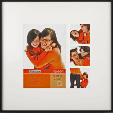 50x50cm Nielsen Gallery Junior Black Picture Frame & Mount, 4 Photos (R565321)