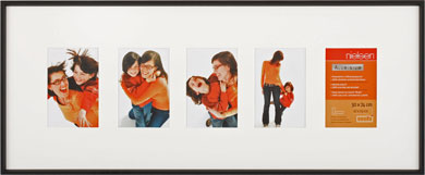 74x30cm Nielsen Gallery Junior Black Picture Frame & Mount, 5 Photos (R565421)