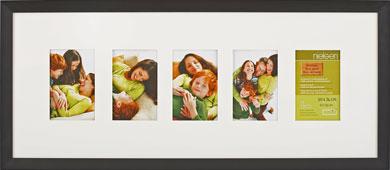 74x30cm Nielsen Essentielles Black Picture Frame & Mount, 5 Photos (RW4884004)