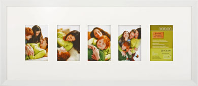 74x30cm Nielsen Essentielles White Picture Frame & Mount, 5 Photos (RW4884005)