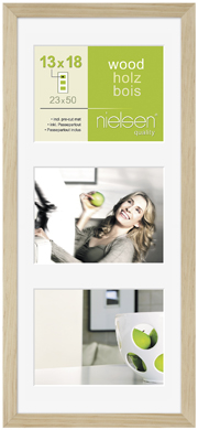 50x23cm Nielsen Apollo Natural Wood Picture Frame & Mount, 3 Photos (RW8988013)