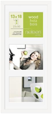 50x23cm Nielsen Apollo White Picture Frame & Mount, 3 Photos (RW8988012)