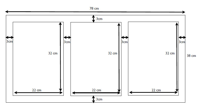 Example of customer supplied mount diagram with several openings for photos