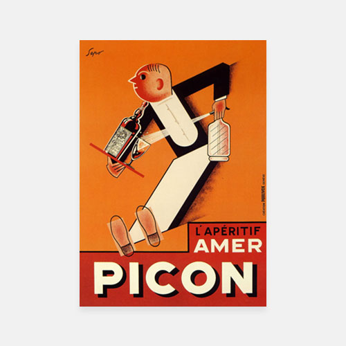 Aperitif Amer Picon, Artist: Severo Pozzati. Art Deco drinks advertisement 1920s