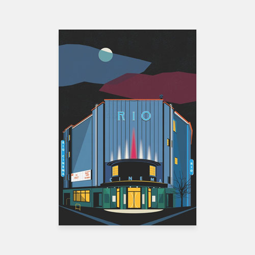 The Rio Cinema Poster - Art Deco London Illustrated - Giclee Art Prints