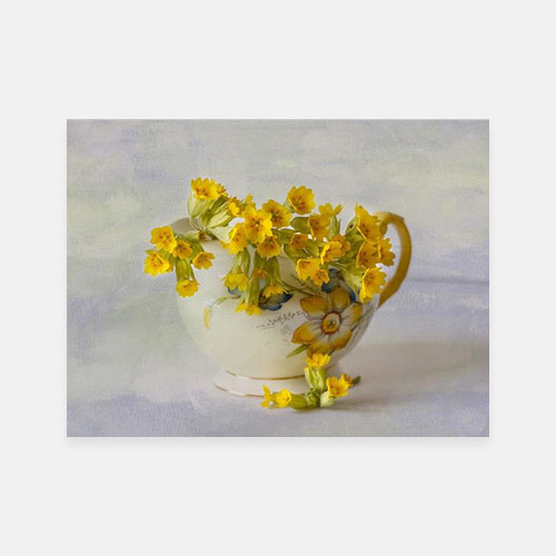 Cowslips Yellow Print Framed