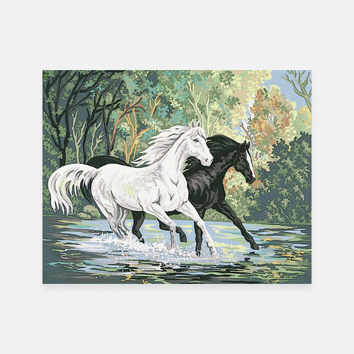 Crossing the river tapestry canvas